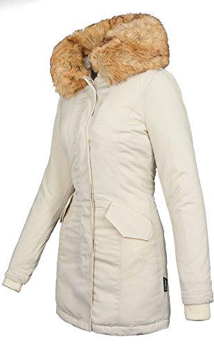 Marikoo Damen Winter Jacke Parka Mantel Winterjacke warm gefüttert B362 (L, Weiss)
