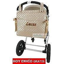 mibebestore - Bolso Talega PERSONALIZADA Plastificada para carro color ARENA - Nombre bebé bordado