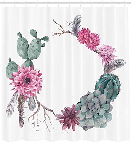 Nyngei Saftiger Duschvorhang von Sommer Vintage Blumenkranz Boho Chic Stil Zweige Federn Stoff Badezimmer Dekor Set mit180CM Salbei grün Hellrosa lila - Lila Duschvorhang
