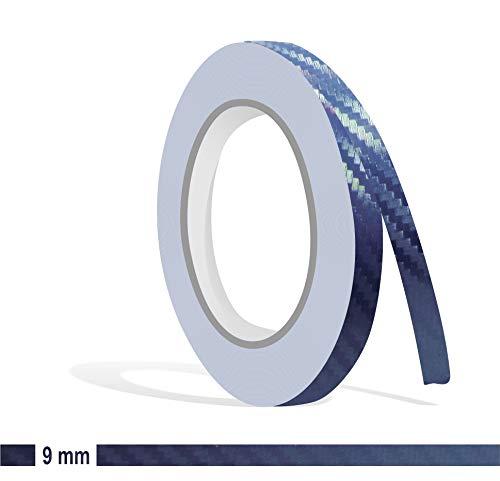 Siviwonder Zierstreifen Marine Carbon in 9 mm Breite und 10 m Länge Folie für Auto Aufkleber Boot Jetski Modellbau Klebeband Dekorstreifen Marine blau dunkelblau Navy