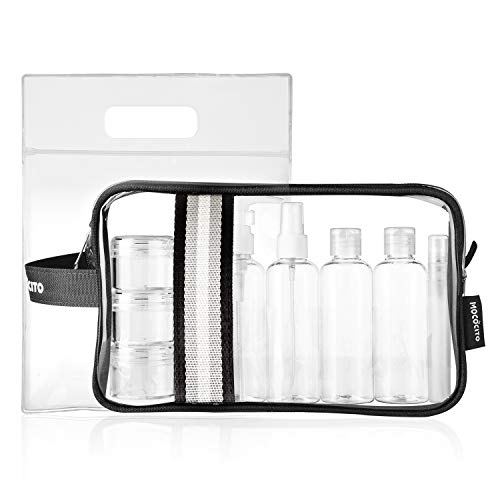 Mococito borsa da toilette viaggio trasparente con 8 bottiglie approvata secondo le regolamentazioni ue e uk sul bagaglio a mano | borsetta da trucco trasparente con zip (20x20cm) [nero]