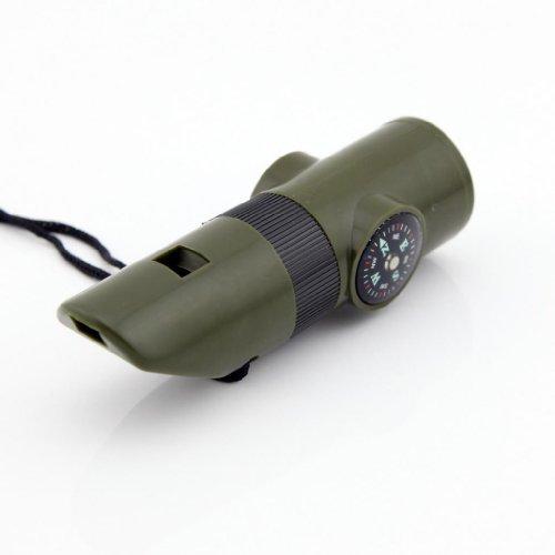 Large Vert militaire de survie 7 en 1 pour sifflet, boussole, thermomètre, réflecteur Miroir loupe, lampe torche LED et le rangement