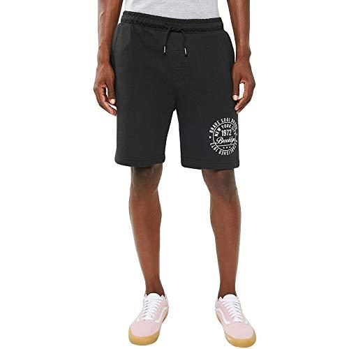 Brave Soul Herren Sweat Shorts Track Brooklyn Logo - Schwarz - Medium