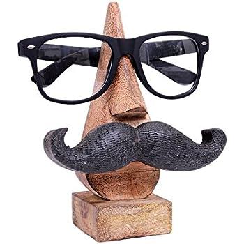 Merci de donner un cadeau pour vos amoureux Porte-lunettes en bois, Porte-lunettes Moustache, Porte-lunettes en forme de nez, Porte-lunettes brun de 6 pouces.