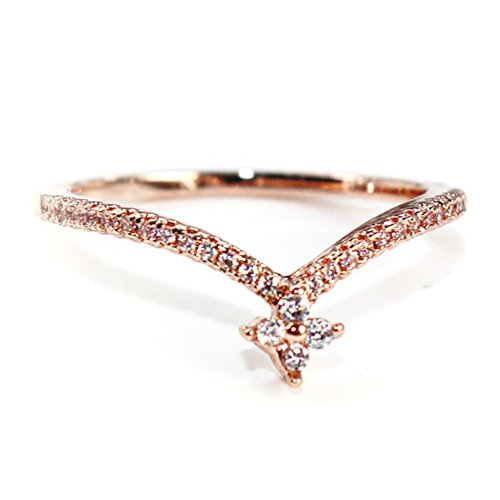Excelsia -Regina- 14K White Gold-Plated CZ Crystal Dainty Ring, Size J 1/2 (Touchstone Crystal Schmuck)