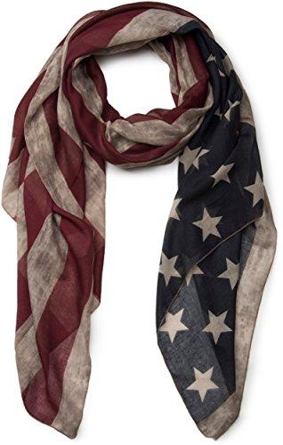 styleBREAKER Vintage Design USA Flaggen Muster Schal, Stars and Stripes, Unisex 01016084, Farbe:Beige