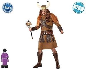 Atosa-61398 Atosa-61398-Disfraz Vikingo-Adulto Hombre, Color marrón, XS a S (61398