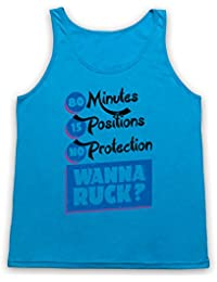 80 Minutes 15 Positions No Protection Wanna Ruck Funny Rugby Slogan Tank-Top Weste, Neon Blau, Small
