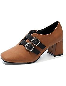 KPHY-El Nuevo Single De Zapatos La Caída De La Retro-Gruesa Y Oscura Primavera-Cabeza Femenina Solo Zapatos Zapatos...