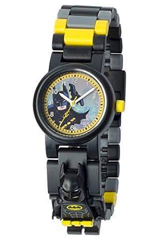 LEGO Batman Movie Batman Kinder-Armbanduhr mit Minifigur und Gliederarmband zum Zusammenbauen | schwarz/gelb | Kunststoff | Gehäusedurchmesser 28 mm | analoge Quarzuhr | Junge/ Mädchen | offiziell
