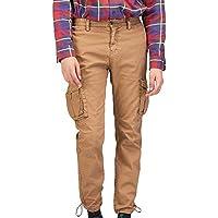 Pantalones de Hombre Cargo Moda Color Sólido Largos Cargo Múltiples Bolsillos Lavados Rectos Algodón Slim Fit Cargo Trouser Casuales Sueltos MMUJERY
