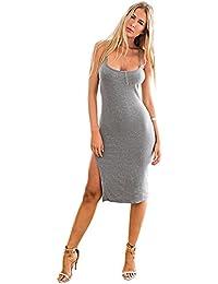 LookbookStore® Damen Graues Cami Ärmelloses Körperbetontes Kleid mit Seitenschlitz Einfarbig