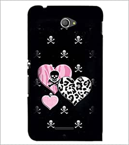 PrintDhaba Heart with Skull D-1966 Back Case Cover for SONY XPERIA E4 (Multi-Coloured)