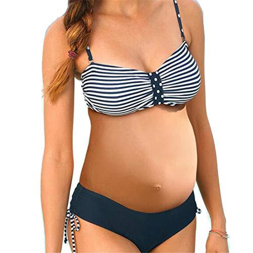LQFLD Schwangerschafts Tankini,Schwangere Frauen 2-Piece Bikini-Set mit tiefem Bund und verstellbarem Schultergurt,4XL