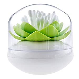 House of Quirk Lotus Cotton Swab Holder, Small Q-tips Toothpicks Storage Organizer - Green