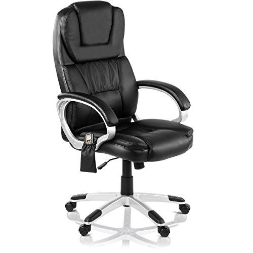 Mc Haus Bürostuhl mit Massage 8Punkte und Heizung, Kunstleder, Schwarz, 62x 68x 120cm