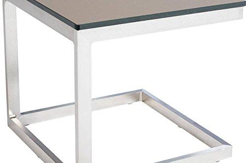 Table d'appoint en Aluminium, coloris taupe - Dim : L 40 x P 40 x H 38cm - PEGANE -