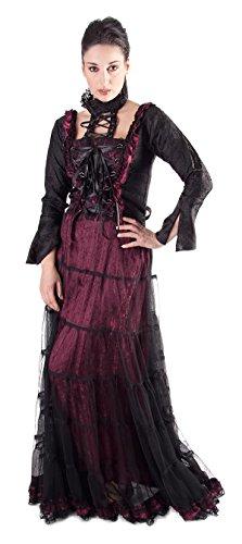 Bäres New Romantic - Damen Langes Gothic Kleid Evelin Schwarz/Bordeaux
