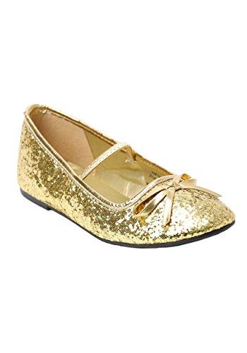 Girls Gold Glitter Ballet Flats Medium (13-1)