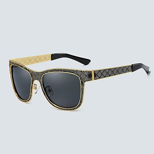 FORTINGBAR Frauen polarisierten Sonnenbrillen hohlen Rahmen, innere Blaue Folie, Fahren Outdoor-Brille Linsenmaterial: HD polarisiert (Farbe : Gold)