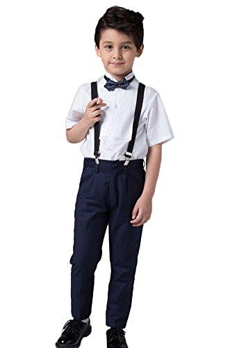 Icegrey Jungen Hochzeit Festlich gekleidet Taufe Hemd und Hose Set mit Strapse, Fliege Weiß / Marineblau 7-8 Jahre (Husky Jungen Anzug)
