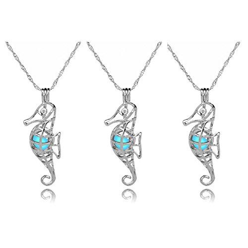 (Jiayiqi Nettes Seepferd Hängendes Glühen In der Dunklen Halskette Freunde 3PCS)