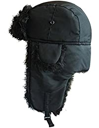 All Black Pilot Type Winter Trapper Hat