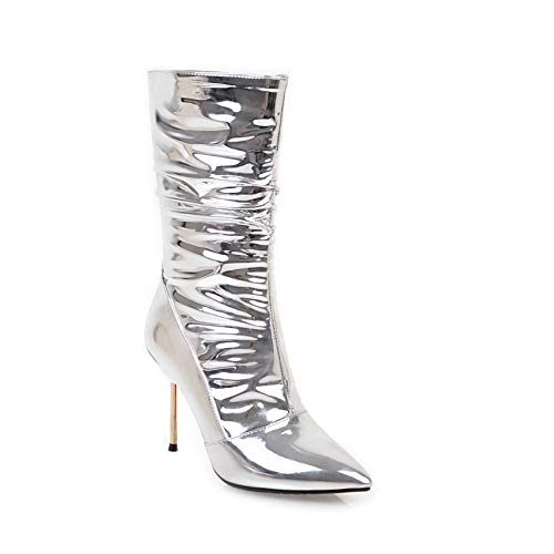 HAOLIEQUAN Women Mid Calf Boots Thin Boots High Sliver Propeller Knee High Boots Winter Shoes Women Motorcycle Boots Big Size 34-43, Silver, 36