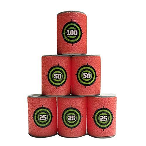Jinzuke 6pcs Schießen Spiel Schaum Getränk Flaschenform Training Quellen Spielzeug Dart Praxis Ziele 25/50/100 Scorse -