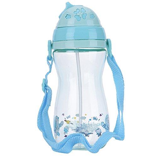 Samber 400ml Cartoon Typ BPA freie Baby Trinkflasche Tassen Portable Training Tasse mit Stroh und abnehmbaren Träger, Silikon Stroh schützt Babys Zahnfleisch (blau) Sauberes Wasser Stroh
