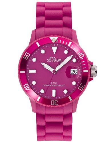 s.Oliver Unisex-Armbanduhr Medium Size Silikon pink Analog Quarz SO-1990-PQ