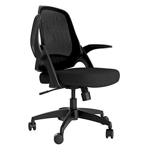 Hbada Kleiner Bürostuhl leicht Drehstuhl Moderner Schreibtischstuhl Arbeitsstuhl Ergonomischer Stuhl mit hochklappbaren Armlehnen und Höhenverstellung Schwarz