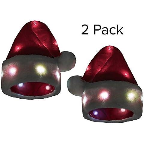 [2 Confezioni]Cappello di Babbo Natale divertente con 20 Luci LED