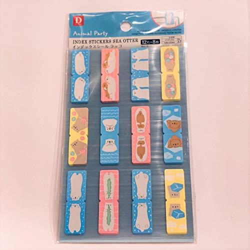 Daiso Sea Otter Index Sticker/Lesezeichen (12 Muster/8 Blatt) G-039 Nr. 37