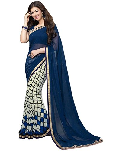 Sarees (Finix Fashion Women's Clothing Chiffon Georgette Printed Designer Wear Low Price Sale Offer buy online in Georgette Chiffon Material New Blue Color Printed Free Size Beautiful Saree Best Offer For Women Party Wear Bollywood Fashion Designer Sarees)  available at amazon for Rs.699