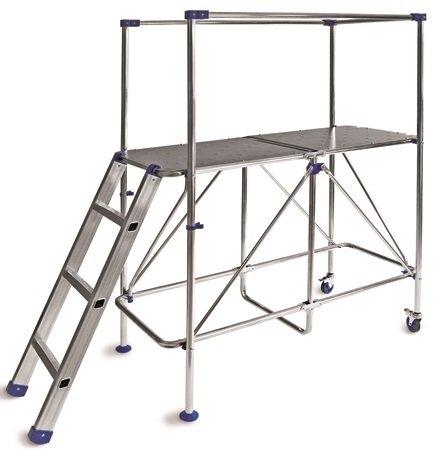PLATFORM Aluminium Working Platform Mini Scaffold Tower LADDER- 3m working height Foldable Platform -Step up Ladder -up 150 kg -weights only 16 kg