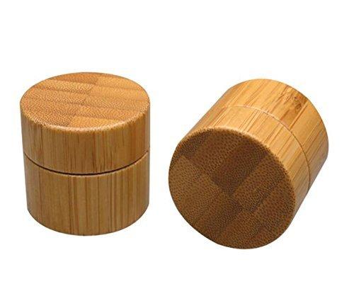 2 pcs 10 g rechargeables bocaux en bambou avec plastique polypropylène Lot de l'environnement et couvercle en bambou Crème Bouteille Pot bocaux Cosmétique récipient pour Lotion, crèmes, baumes à lèvres à paupières, maquillage des échantillons