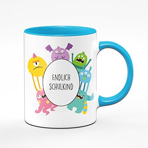 Tasse Zum Schulanfang - Endlich Schulkind - Tasse mit Monster - Geschenk zur Einschulung für die Schultüte - Geschenke Zum Schulanfang - Mehrere Farben wählbar (Hellblau)