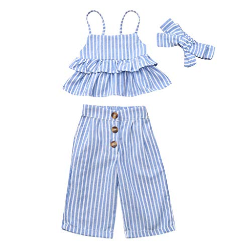 Kleinkind Mädchen Gestreift Rüsche Tops T-Shirt + Hose + Stirnband Set Mädchen Rüschen Set