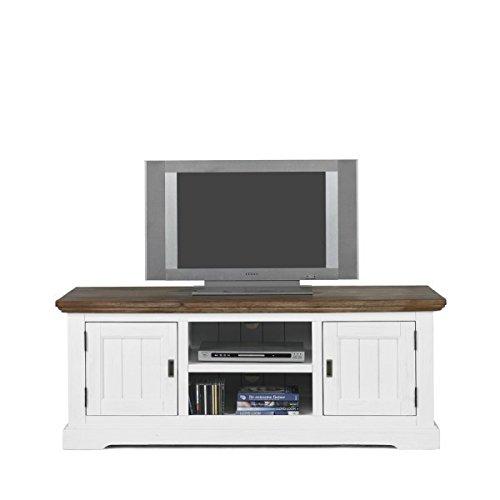 Möbelkultura OLYwohn2w-BC Wohnzimmermöbel, Holz, weiß / braun, 55 x 155 x 185 cm