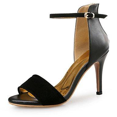LvYuan Da donna-Sandali-Ufficio e lavoro Formale Serata e festa-Club Shoes-A stiletto-Di pelle Felpato-Nero Black