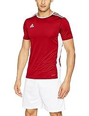 Idea Regalo - adidas, maglietta per bambini, modello Entrada 18, Bambini, CF1038, rosso/bianco, 128