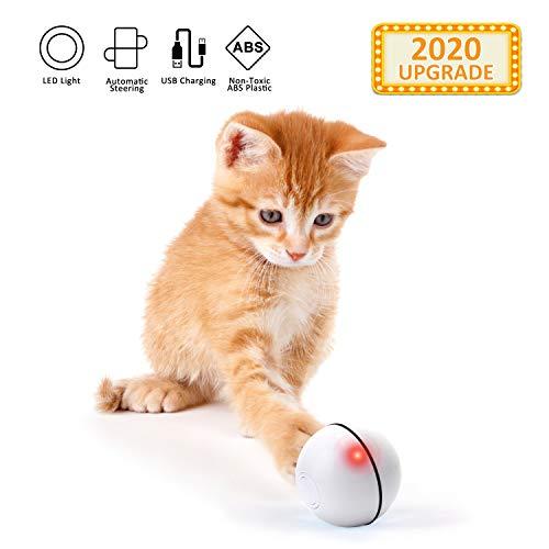 EKKONG Interaktives Katzenspielzeug Ball, Automatische Rolling Katzenkugeln, Wiederaufladbares interaktives USB-Katzenspielzeug,Elektrisch Katzenball mit LED-Licht USB-Aufladung for Puppy (Weiß)