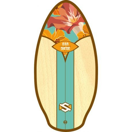 Skim One Skimboard, mehrfarbig Wood San Diego Aqua/Orange/Brown, 41 ""