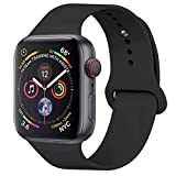 HILIMNY Para Correa Apple Watch 42MM, Suave Silicona iWatch Correa, Para Series 3, Series 2, Series 1, Nike+, Edition, Hermes (Negro, 42MM-ML)