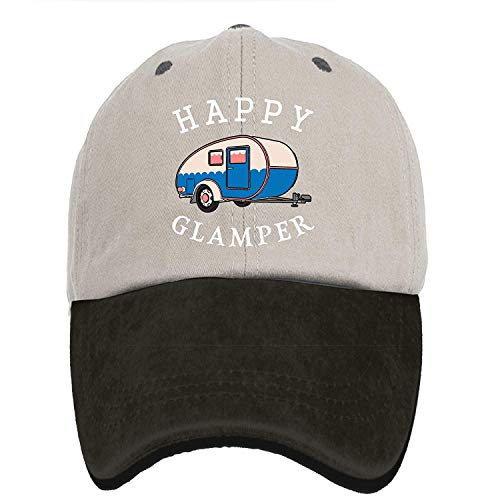 VTXINS Happy Camp Happy Glamper Vintage Washed Dyed Cotton Twill Low Profile Adjustable Baseball Cap Black