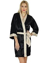 c4bcf1535e Bimba Women Short Classic Satin Robe Getting Ready Bride Bridesmaid Robes  Kimono Sleeve Coverup