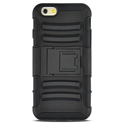 Phone case & Hülle Für IPhone 6 / 6S, 2 In 1 Split Sliding Silikon + Kunststoff Gehäuse mit Halter ( Color : Black ) Black