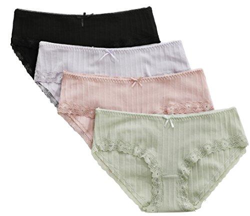 CharmLeaks Damen Panty Baumwolle Unterwäsche Damen Hipster Mit Spitze 4er Pack Slips Mehrpack Hipsters L