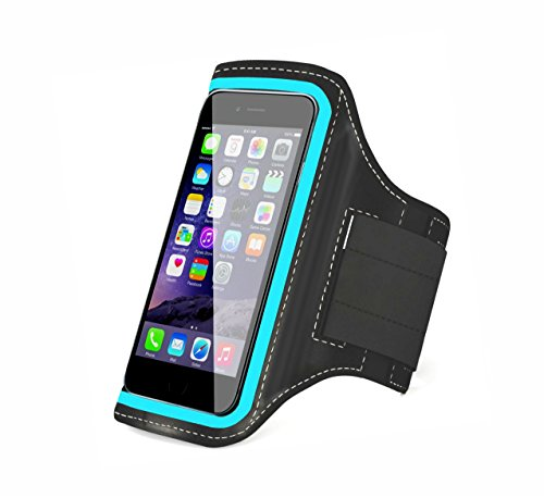 TANTRA Mobi-Blue Armband, Adjustable Sports Running, Jogging, Gym, Yoga, Anti-Slip Mobile Holder Like I-Phone 6, 6s, 7 & Redmi-2 Etc (Size 4.7 Inches, Black & Blue)